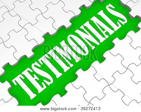 Testimonials Puzzle Showing Credentials And Recommendations