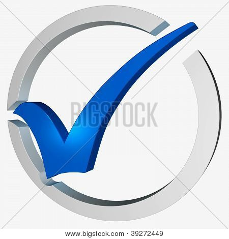 Blue Tick Circled Showing Checked Verified Excellence Guaranteed poster