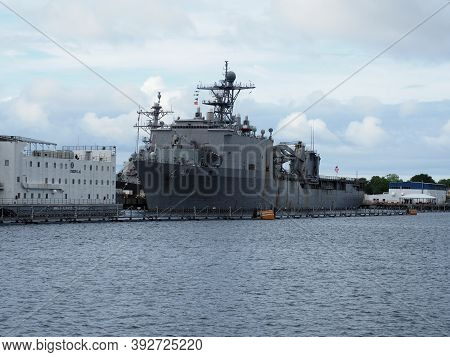 Norfolk, Usa - June 9, 2019: Image Of The Battleship Uss Whidbey Island Anchored In The Naval Base O