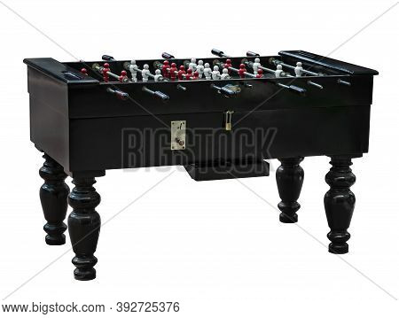 Vintage Wooden Table Soccer Or Table Football, Token Slot, Keypad, Isolated Image On The White Backg