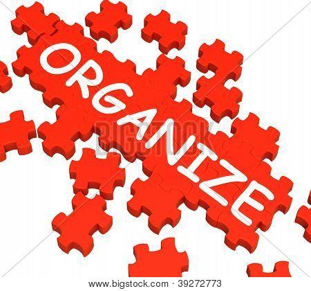 Organize Puzzle Shows Arranging Or Organizing