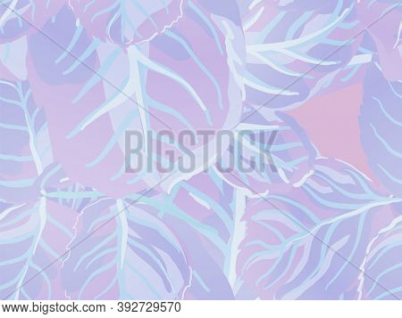 Repeated Spring Peony Wallpaper. Proton Purple Rose Leaves Seamless Pattern. Romantic Botanical Vect