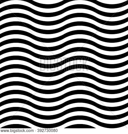 Curly Lines. Jagged Stripes. Waves Motif. Seamless Surface Pattern Design With Wavy Linear Ornament.