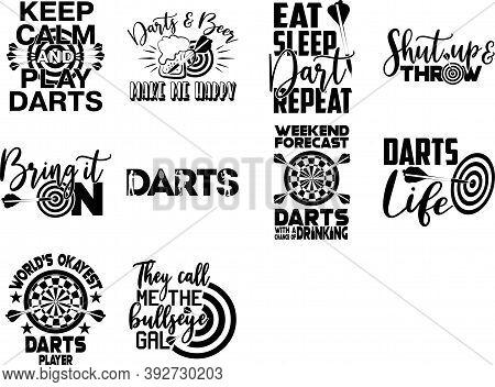 Set Os Darts Quotes. Darts Vector. Sport Quotes