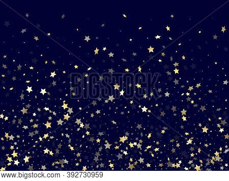 Gold Falling Star Sparkle Elements Of Glitter Gradient Vector Background. Trendy Confetti Gold Stars