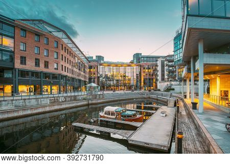 Oslo, Norway. View Of Residential Multi-storey Houses In Aker Brygge District In Summer Evening. Fam
