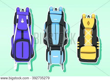 Set Of Camping Bag Cartoon Icon Design Template With Various Models. Vector Illustration Isolated On