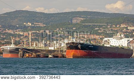 Trieste, Italy - June 17, 2019: Loading Oil Tanker Ship Amore Mio At Port Terminal In Trieste, Italy