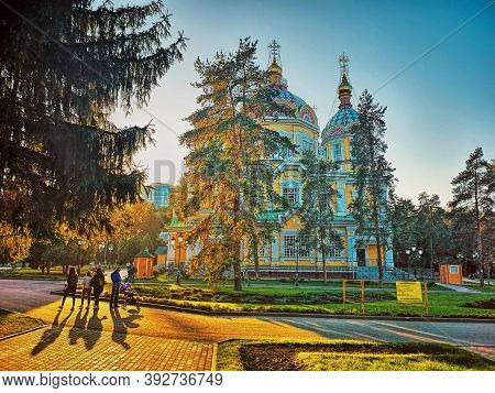 Almaty, Kazakhstan - October, The 13, 2019: Russian Orthodox Ascension Cathedral Located In Panfilov
