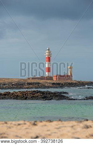 El Cotillo, Fuerteventura, Spain : 2020 October 2 : Sunset Lighthouse Faro El Toston, El Cotillo, Fu