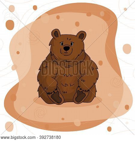 Hand Drawn Bear Grizzly That Sits And Holds His Paws On Brown Pink Background