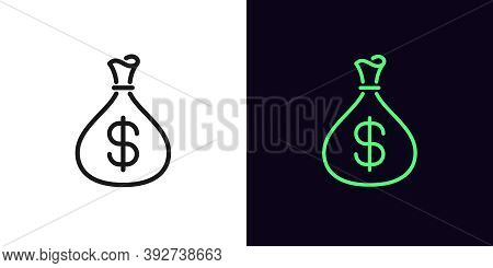 Outline Money Bag Icon. Linear Income Sign With Editable Stroke, Pouch With Dollar. Revenue, Money D