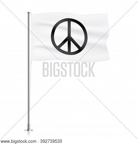 White Waving Flag With A Peace Symbol. Pacifist Vector Flag Template. Decoration Element For Antiwar