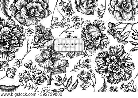 Floral Design With Black And White Wax Flower, Forget Me Not Flower, Tansy, Ardisia, Brassica, Decor