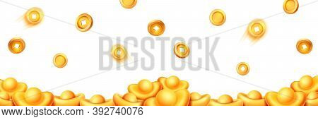 Stack Of Gold Ingots, Falling And Flying Coins With Holes Isolated On White Background. Vector Decor