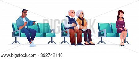 Waiting Room, People Sitting On Chairs In Queue Isolated On White. Vector Elderly Couple, Woman And
