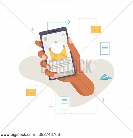 Application, Smartphone In Hand, Work, Email Message, Incoming Mail, Envelopes, Letter And Document