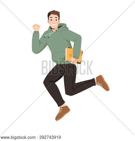 Happy Guy Merrily Leaps Or Jumps With Fists Up. Vector Man In Sweater And Trousers, Leaping Or Jumpi