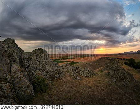 panoramic view of Dobrogea fields in summer, Romania