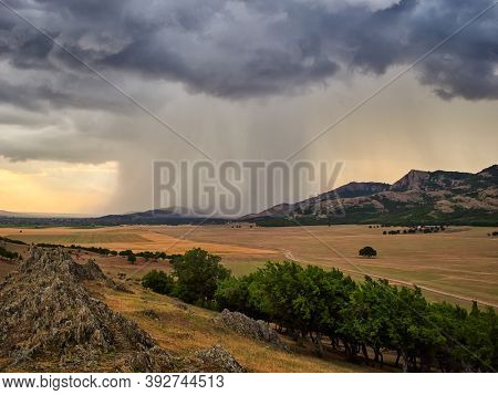 landscape with beautiful cloudy sky in Dobrogea, Romania - aerial view