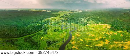 Aerial View Of Summer Curved River Landscape In Sunny Summer Day. Top View Of Beautiful European Nat