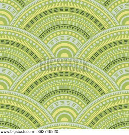Indian Concentric Elements Background Vector Seamless Pattern. Ethnic Motifs Boho Repeating Illustra