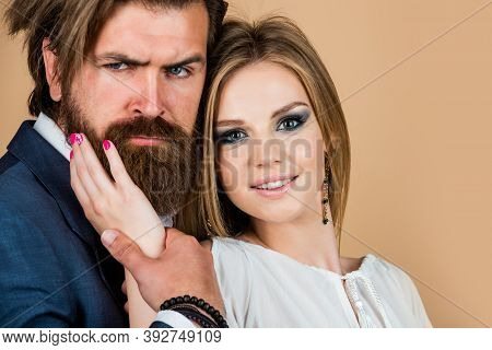 This Is Love. Bearded Man And Woman Embrace. Fashion And Beauty. Valentines Day For Them. Mature Man