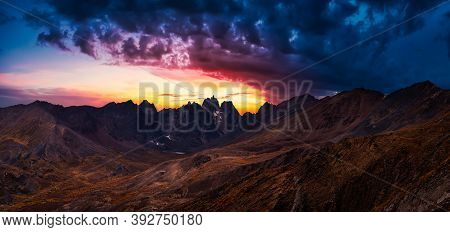 Beautiful Aerial Panoramic View Of Dramatic Mountains And Scenic Alpine Lake During Fall In Canadian