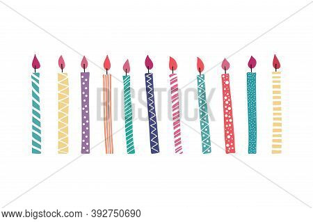 Cartoon Colorful Set Of Festive Candles For Birthday. Party Background With Colored Isolated On Whit