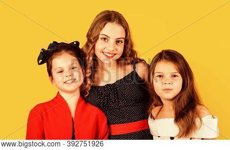 Vintage Girls. Vintage Trend. Elegant Retro Kid. Small Girls Vintage Outfits. Glamorous Team. Vintag