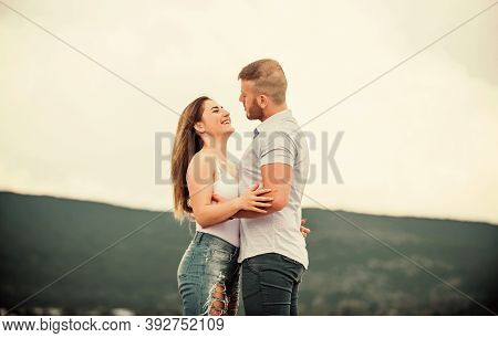 Supporting Her. Cute Relationship. Man And Woman Cuddle Nature Background. Together Forever. Love St