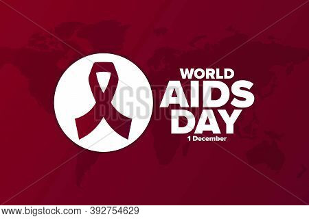 World Aids Day. 1 December. Holiday Concept. Template For Background, Banner, Card, Poster With Text