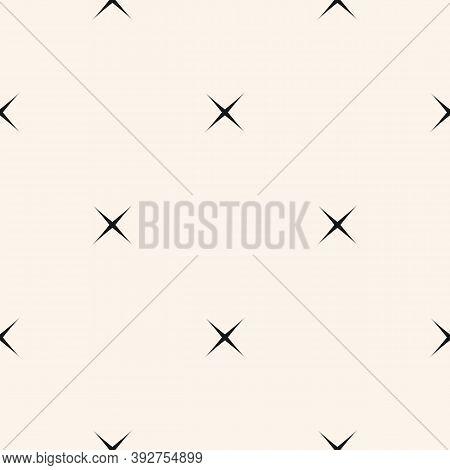 Vector Minimalist Seamless Pattern With Small Crosses, Stars. Simple Black And White Minimal Geometr