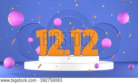 December 12 Super Sale Shopping Day On Pedestal And Confetti Web Banner 3d Rendering
