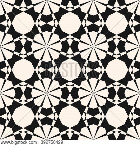 Vector Ornamental Geometric Seamless Pattern. Elegant Black And White Geometrical Texture. Simple Ba
