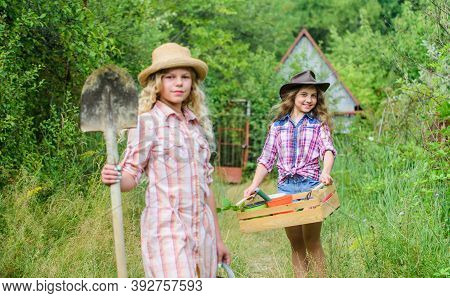 Girls With Gardening Tools. Gardening Teaching Life Cycle Process. Summer At Countryside. Sisters He