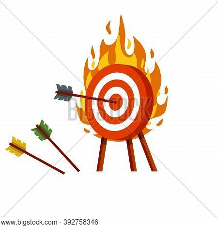 Target For Arrows. Red And White Fire Aim. Business Concept Several Attempts.