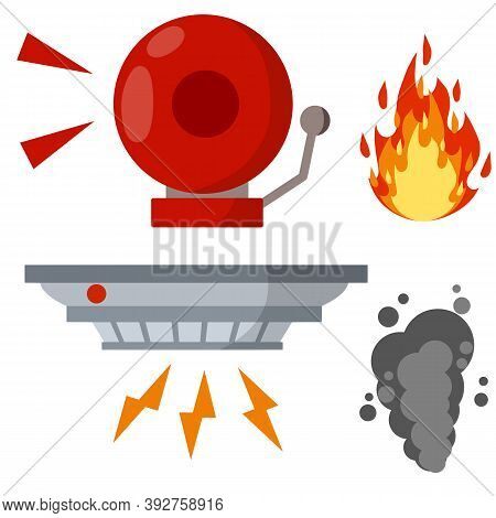 Fire Safety. Set Of Items-alarm Siren Ring, Smoke Sensor, Flame. Dangerous Situation. Accident Prote