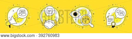 Confirmed, Hair Dryer And 360 Degree Line Icons Set. Megaphone, Licence And Deal Vector Icons. Quote