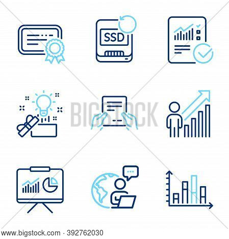 Education Icons Set. Included Icon As Checked Calculation, Recovery Ssd, Certificate Signs. Creative