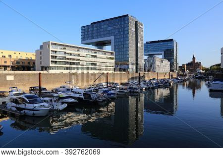 Cologne, Germany - September 21, 2020: Skyline Of Rheinauhafen District In Cologne City, Germany. Fo