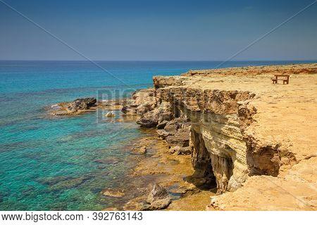 Rocky Sea Shore. Rocky Sea Beach. Beautiful Nature Of Cyprus