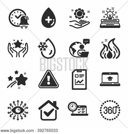 Set Of Technology Icons, Such As Freezing Water, Website Education, 360 Degrees Symbols. Oil Serum,