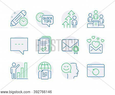 Education Icons Set. Included Icon As Employee Result, Handout, Love Mail Signs. Blog, Verified Mail