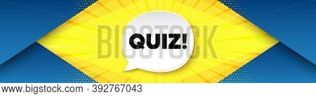 Quiz Symbol. Background With Offer Speech Bubble. Answer Question Sign. Examination Test. Best Adver