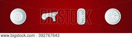 Set Car Brake Disk, Fender, Tire And Wheel Icon. Vector