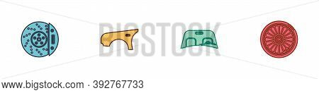 Set Car Brake Disk With Caliper, Fender, Windscreen And Wheel Icon. Vector