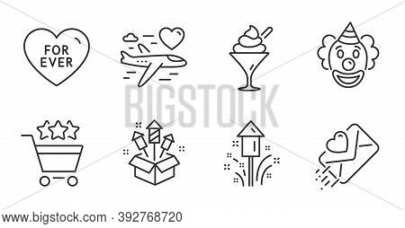 Fireworks Rocket, Ice Cream And For Ever Line Icons Set. Love Letter, Honeymoon Travel And Fireworks