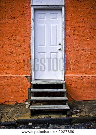 Orange Wall With Door