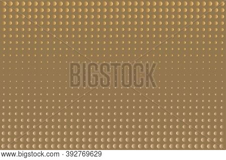 Beige Background With Golden And Light Beige Circles On The Surface. Textured 3d Vector Background.